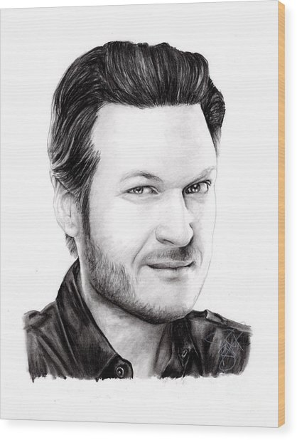 Blake Shelton Wood Print by Rosalinda Markle