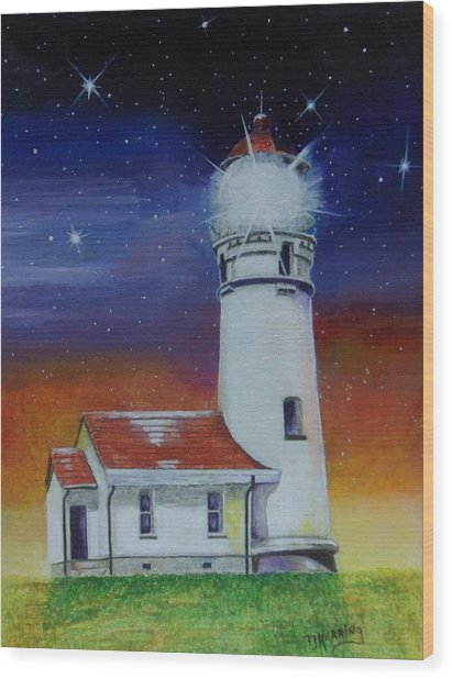 Blanco Lighthouse Wood Print