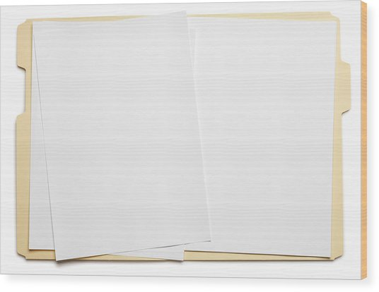 Blank Paper In An Open File Folder On White Background Wood Print by Dny59