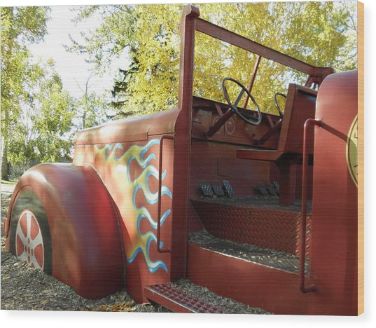 Blazing Red Fire Truck Wood Print