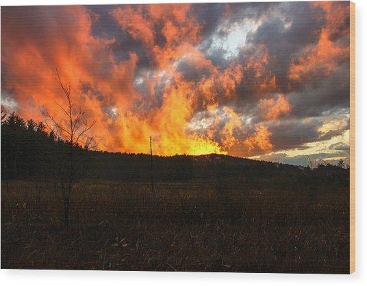 Blazing Sky Wood Print by Michael Donovan