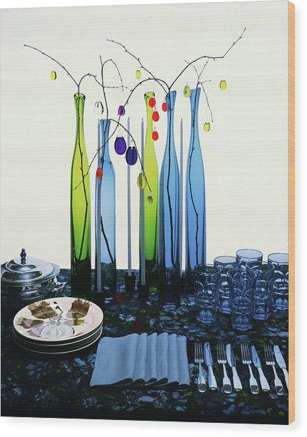 Blenko Glass Bottles Wood Print