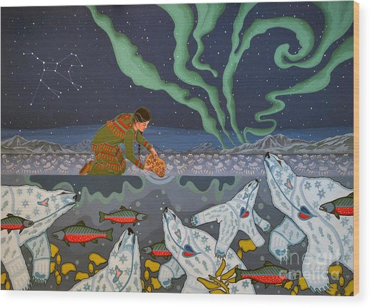 Wood Print featuring the painting Blessing Of The Polar Bears by Chholing Taha