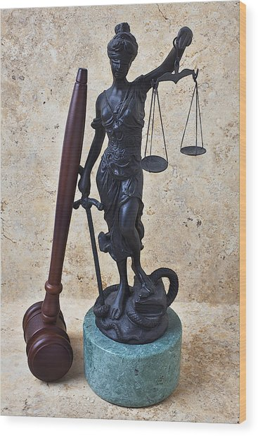 Blind Justice Statue With Gavel Wood Print