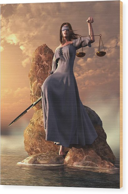Blind Justice With Scales And Sword Wood Print
