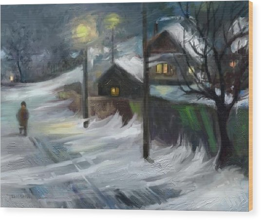 Blizzard Night Wood Print by Tancau Emanuel