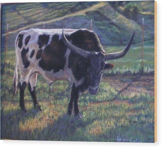 Blk And White Longhorn Steer Wood Print