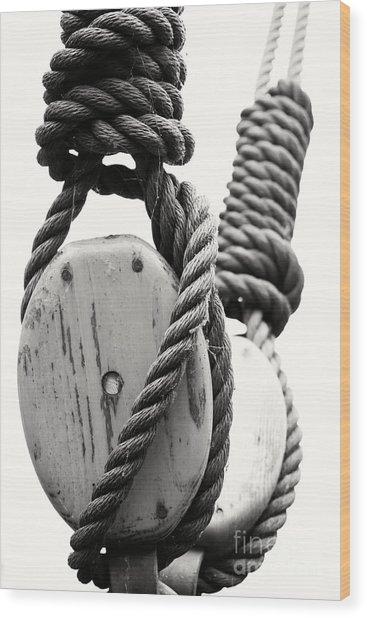 Block And Tackle Of Old Sailing Ship Wood Print