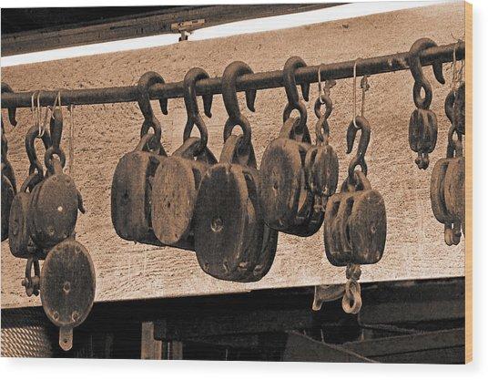 Blocks In The Boatyard Wood Print