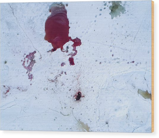 Blood On Snow Left After Animals Wood Print