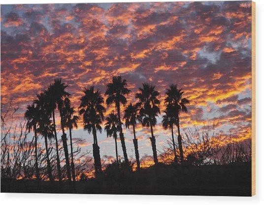 Bloody Sunset Over The Desert Wood Print