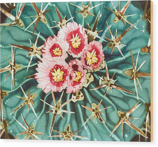 Bloomin' Horse Crippler Cactus Wood Print