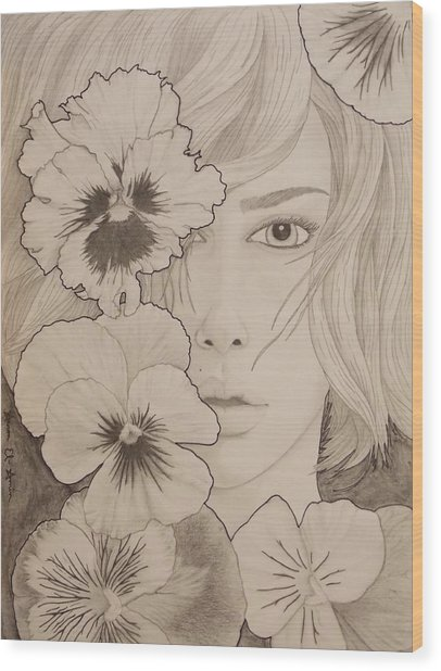 Blooming Girl Pansy Refined Wood Print