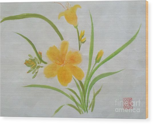 Blooming Lily Wood Print