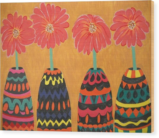 Blooms In Native Dress Wood Print
