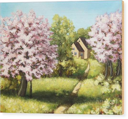 Blossoming Orchard Wood Print