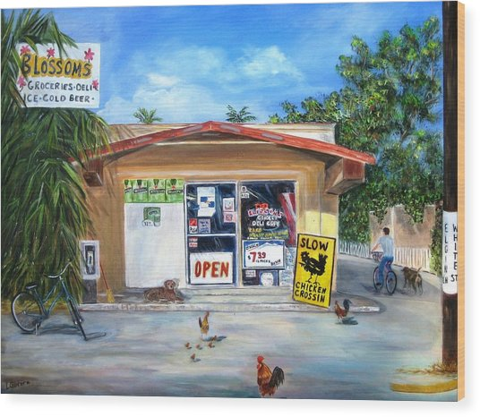 Blossoms Grocery Store Wood Print