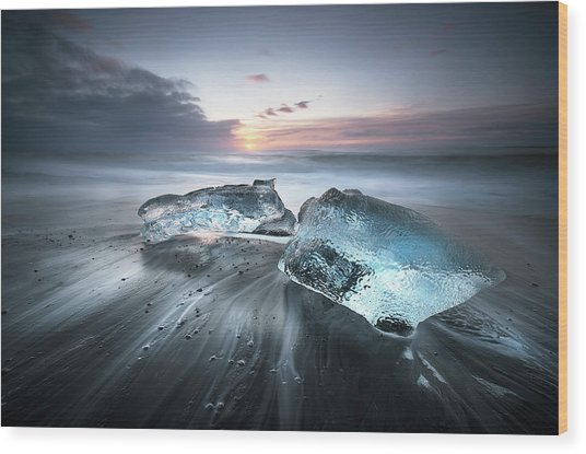 Blu Ice Wood Print