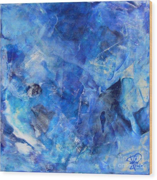 Blue Abstract Square Painting Blue Shades Modern Wall Art By Chakramoon Wood Print by Belinda Capol
