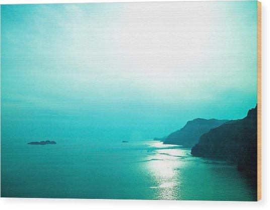 Blue Amalfi Sea Wood Print