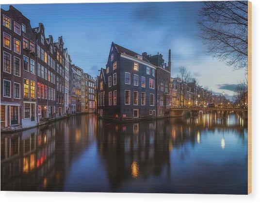 Blue Amsterdam Wood Print by Clara Gamito