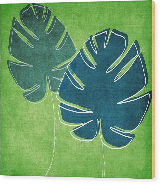 Blue And Green Palm Leaves Wood Print