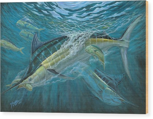 Blue And Mahi Mahi Underwater Wood Print