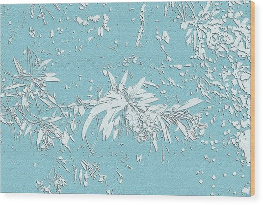 Blue And White Leaves Wood Print