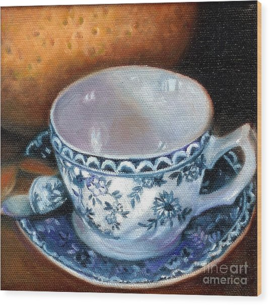 Blue And White Teacup With Spoon Wood Print