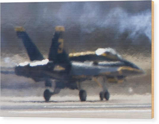 Blue Angels Number 3 On The Runway Wood Print