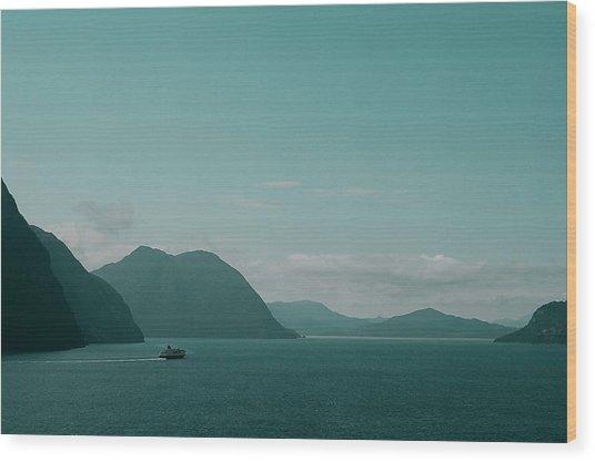 Blue As Fjord Wood Print