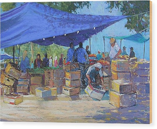 Blue Awnings Wood Print by Jackie Simmonds