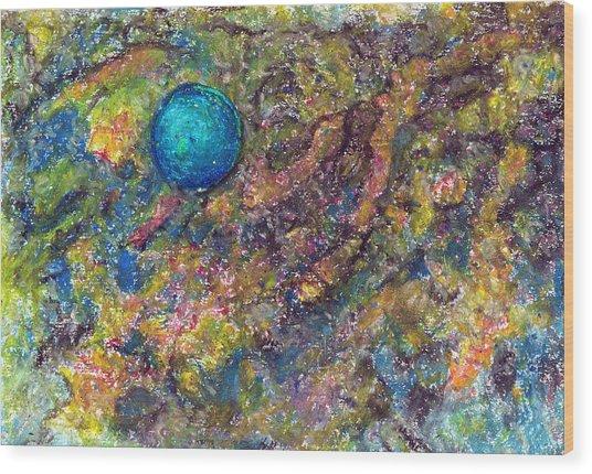 Blue Ball In Space Wood Print by Yuri Lushnichenko