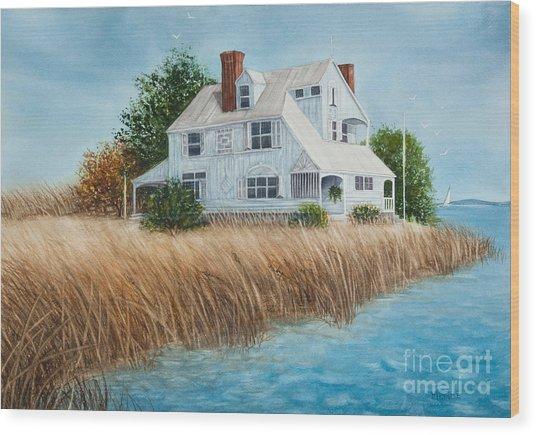 Blue Beach House Wood Print