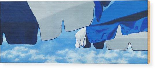 Blue Beach Umbrellas 2 Wood Print