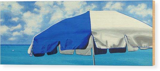 Blue Beach Umbrellas 1 Wood Print