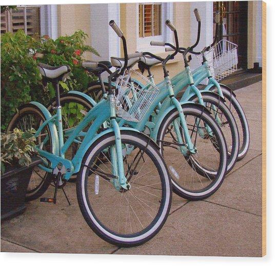 Blue Bikes Wood Print