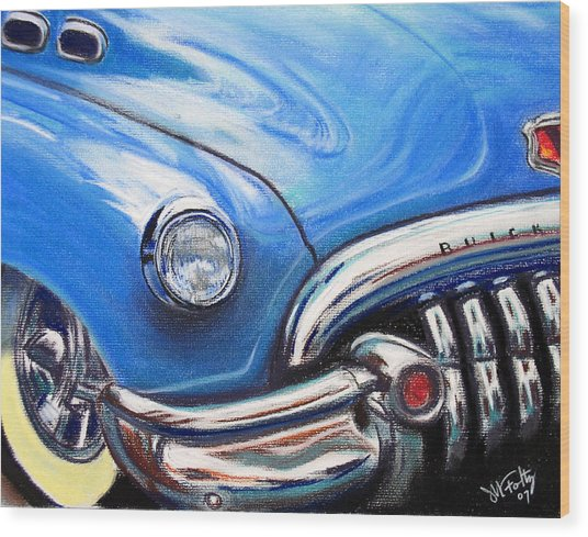 Blue Blue Buick Wood Print