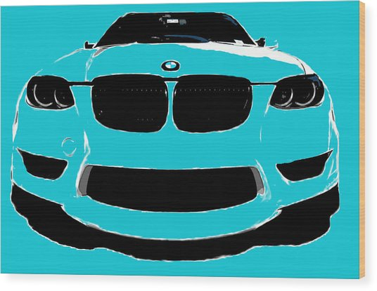 Blue Bmw Wood Print