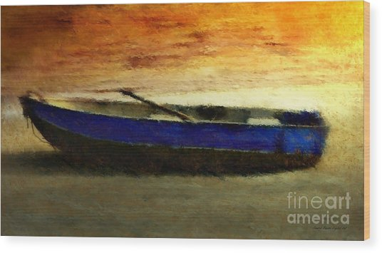 Blue Boat At Sunset Wood Print