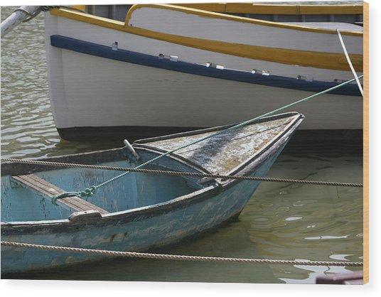 Blue Boat Camargue Wood Print
