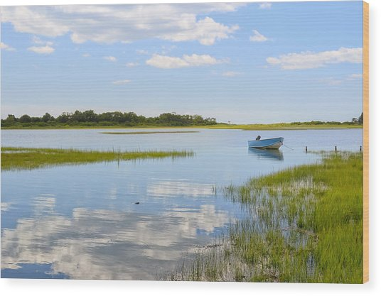 Blue Boat In The Backwaters Wood Print