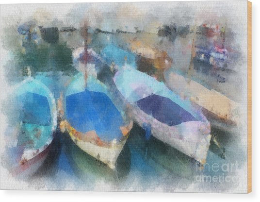 Blue Boats Wood Print
