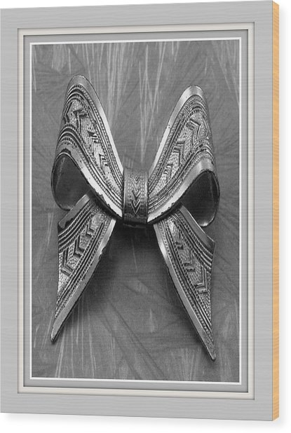 Blue Bow Wood Print