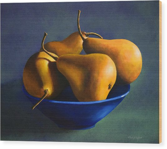 Blue Bowl With Four Pears Wood Print