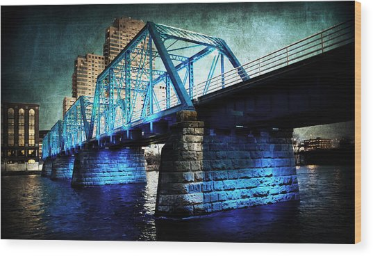 Blue Bridge Wood Print