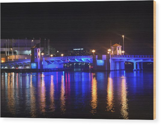 Blue Bridge Wood Print by Victoria Clark
