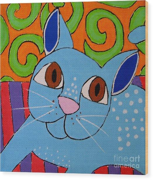Blue Cat Wood Print by Susan Sorrell
