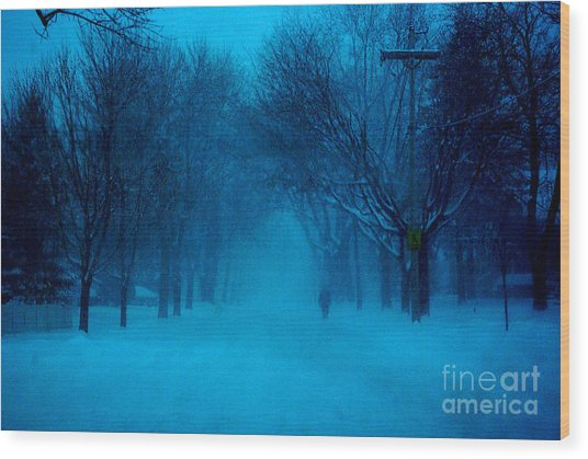 Blue Chicago Blizzard  Wood Print