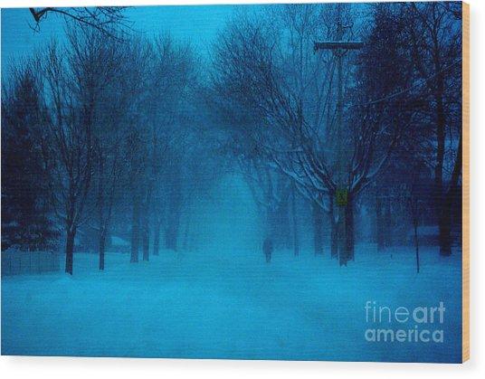 Blue Chicago Blizzard  Wood Print